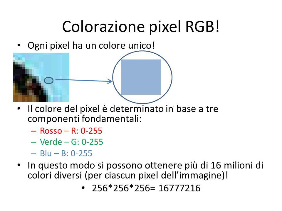 Colorazione pixel RGB! Ogni pixel ha un colore unico!