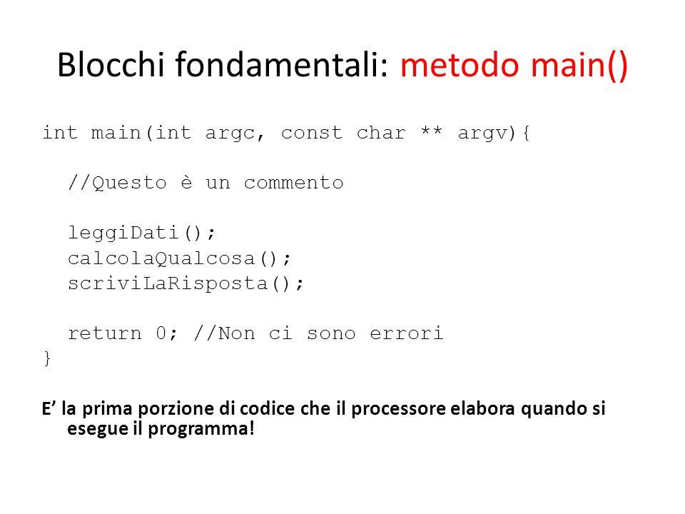 Blocchi fondamentali: metodo main()