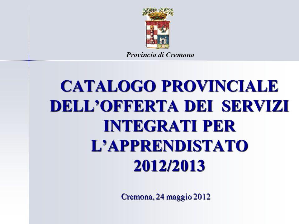 Provincia di CremonaCATALOGO PROVINCIALE DELL'OFFERTA DEI SERVIZI INTEGRATI PER L'APPRENDISTATO 2012/2013.