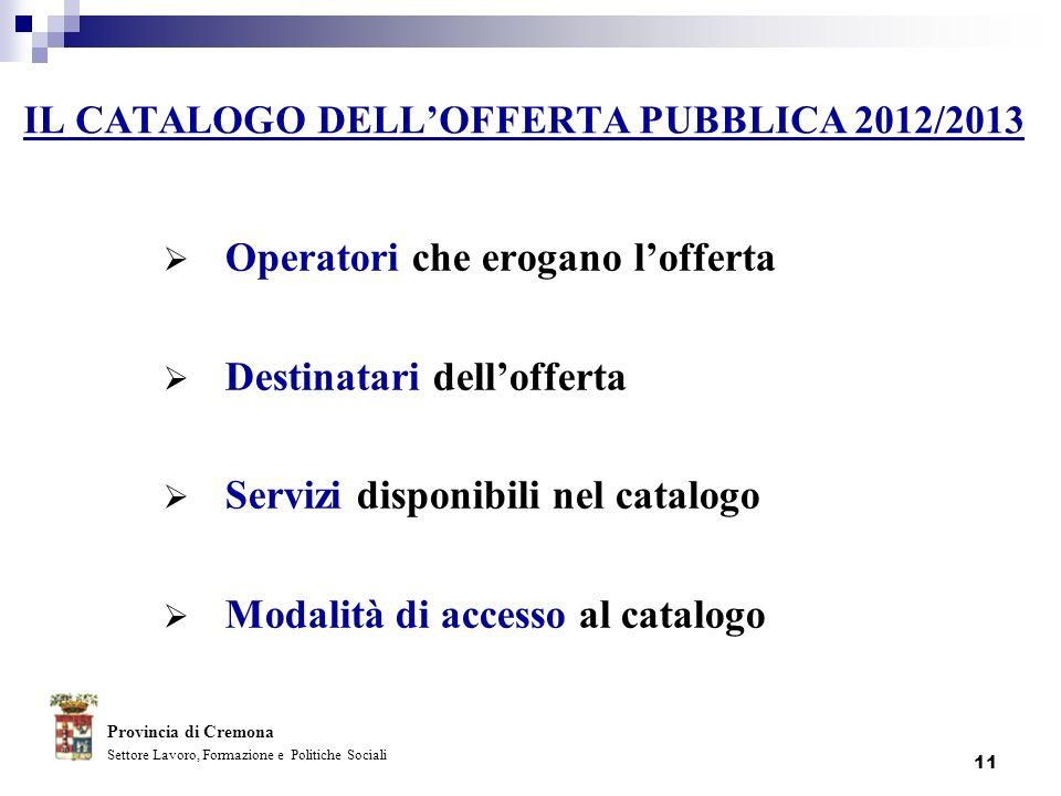 IL CATALOGO DELL'OFFERTA PUBBLICA 2012/2013