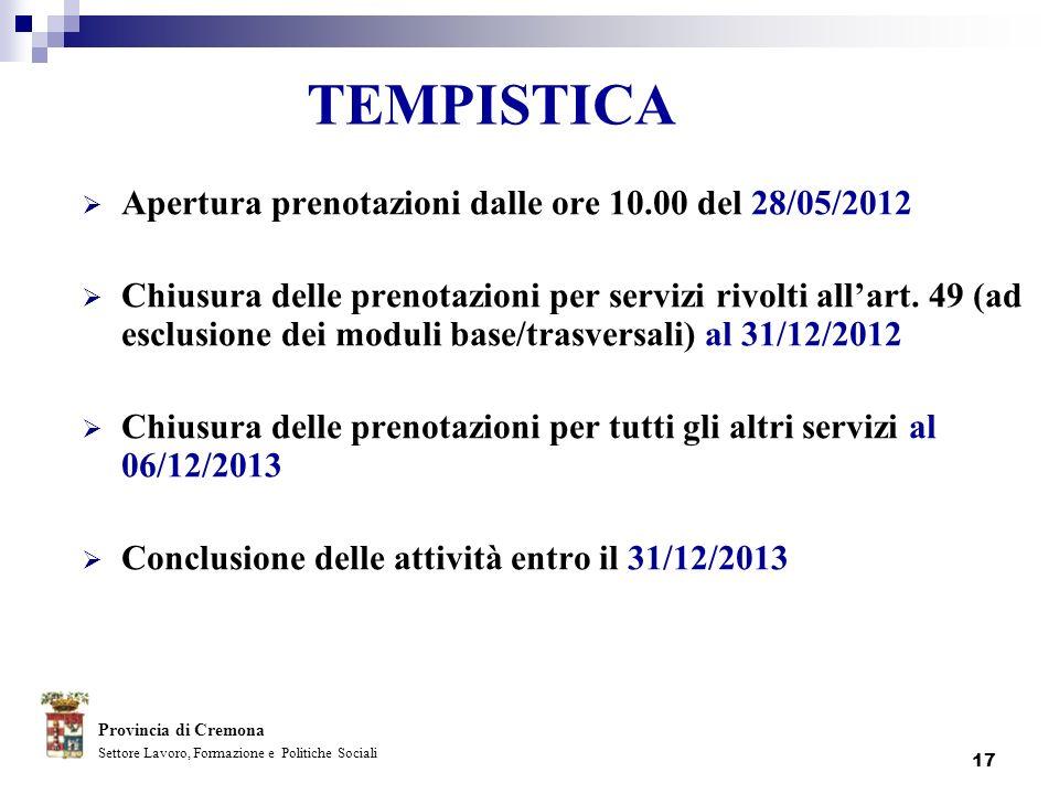 TEMPISTICA Apertura prenotazioni dalle ore 10.00 del 28/05/2012