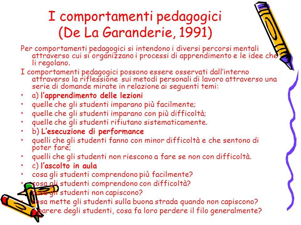 I comportamenti pedagogici (De La Garanderie, 1991)
