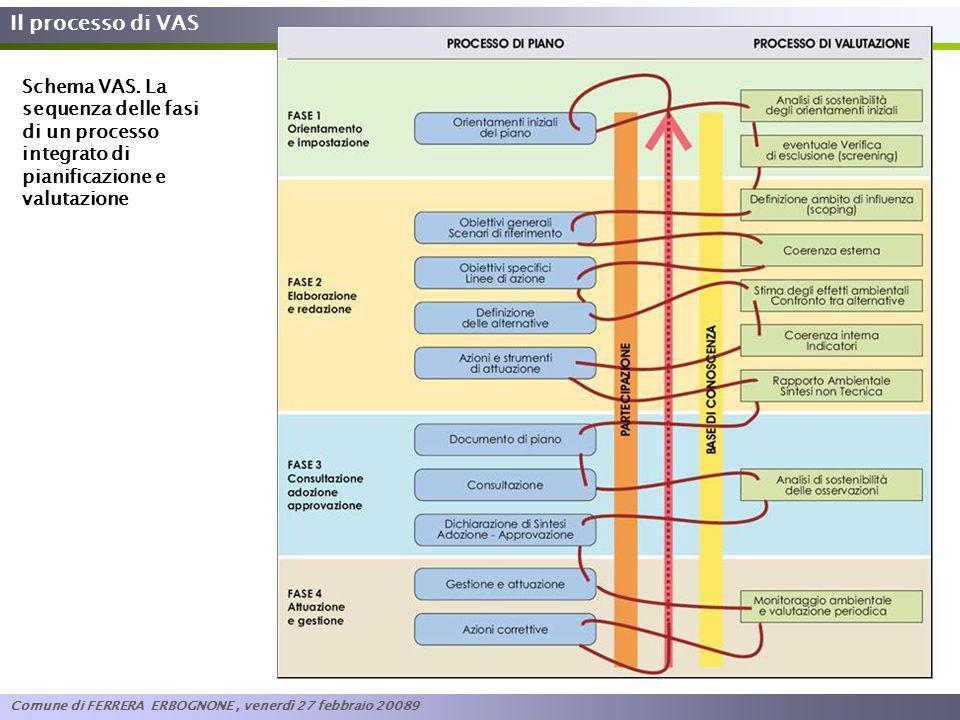 Il processo di VAS Schema VAS. La sequenza delle fasi di un processo integrato di pianificazione e valutazione.
