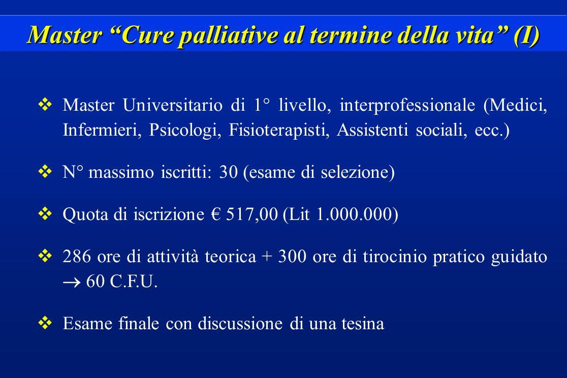 Master Cure palliative al termine della vita (I)