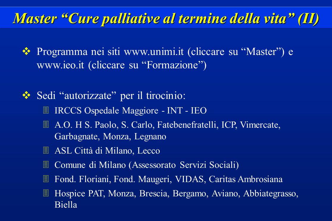 Master Cure palliative al termine della vita (II)