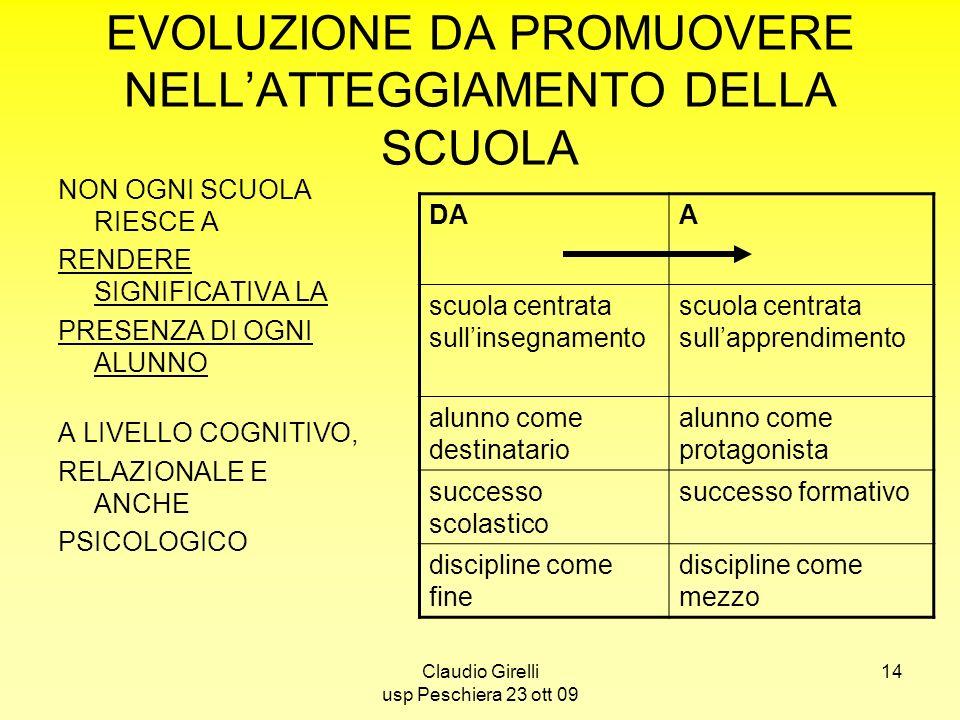 EVOLUZIONE DA PROMUOVERE NELL'ATTEGGIAMENTO DELLA SCUOLA