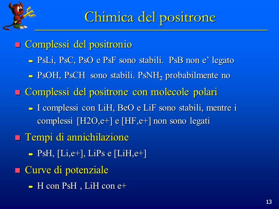 Chimica del positrone Complessi del positronio