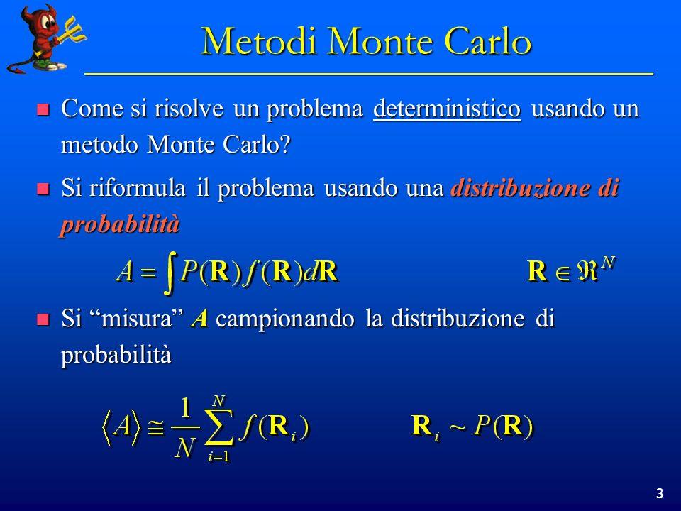 Metodi Monte Carlo Come si risolve un problema deterministico usando un metodo Monte Carlo