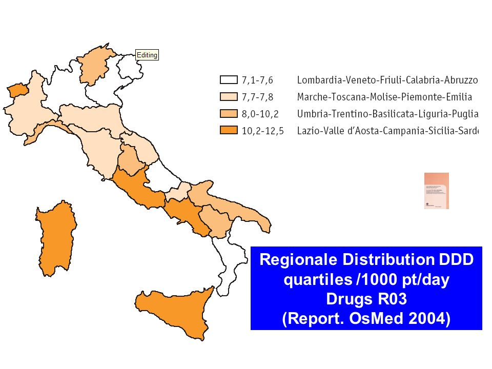 Regionale Distribution DDD quartiles /1000 pt/day