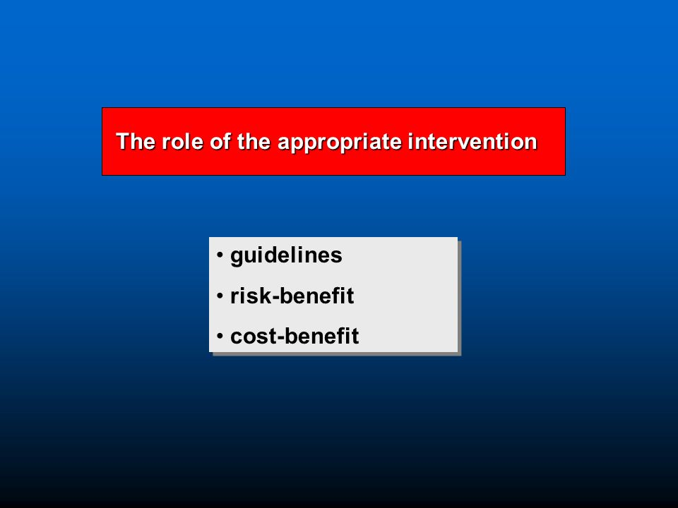 The role of the appropriate intervention