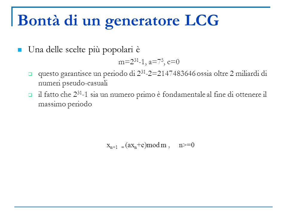 Bontà di un generatore LCG
