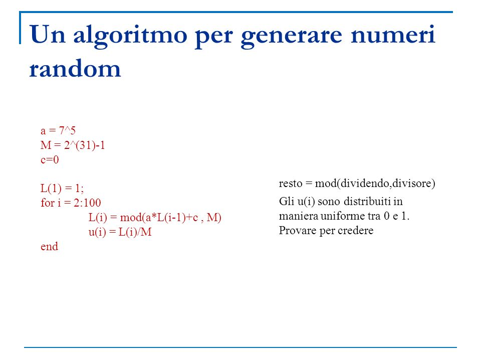 Un algoritmo per generare numeri random