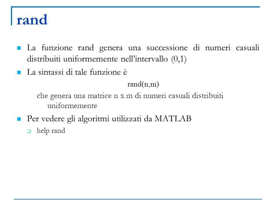 rand La funzione rand genera una successione di numeri casuali distribuiti uniformemente nell'intervallo (0,1)