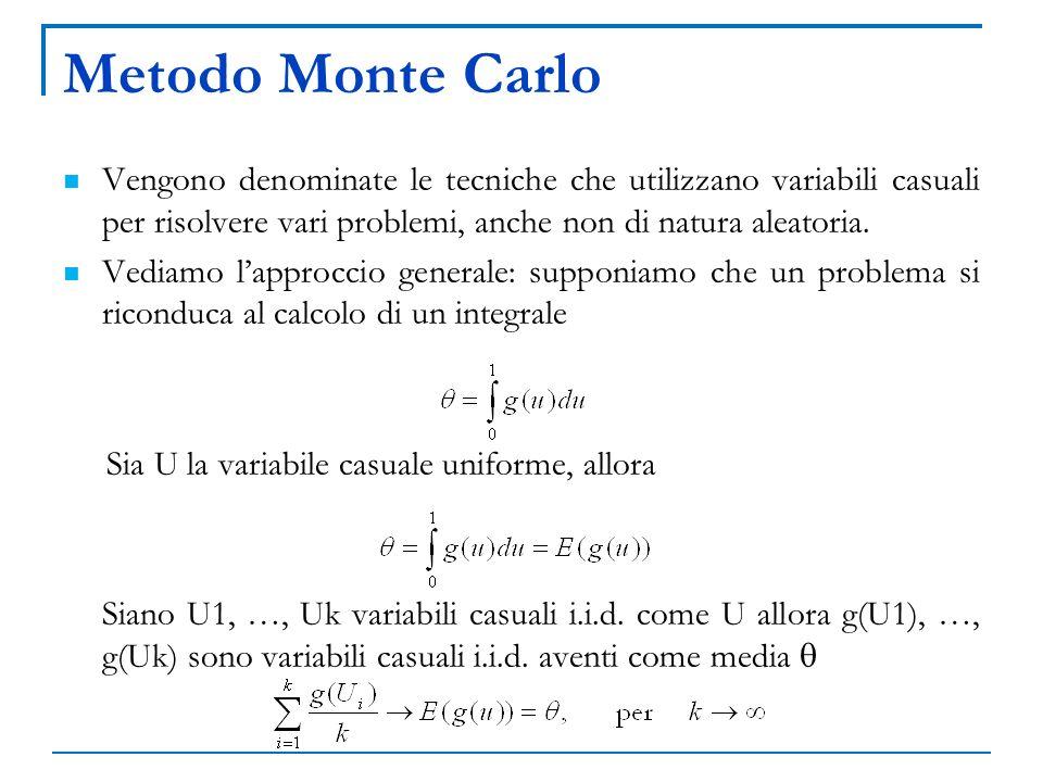 Metodo Monte Carlo Vengono denominate le tecniche che utilizzano variabili casuali per risolvere vari problemi, anche non di natura aleatoria.