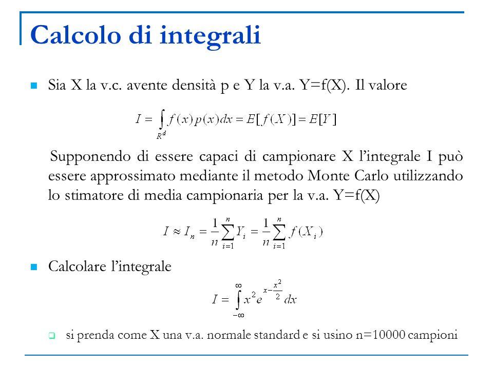 Calcolo di integrali Sia X la v.c. avente densità p e Y la v.a. Y=f(X). Il valore.