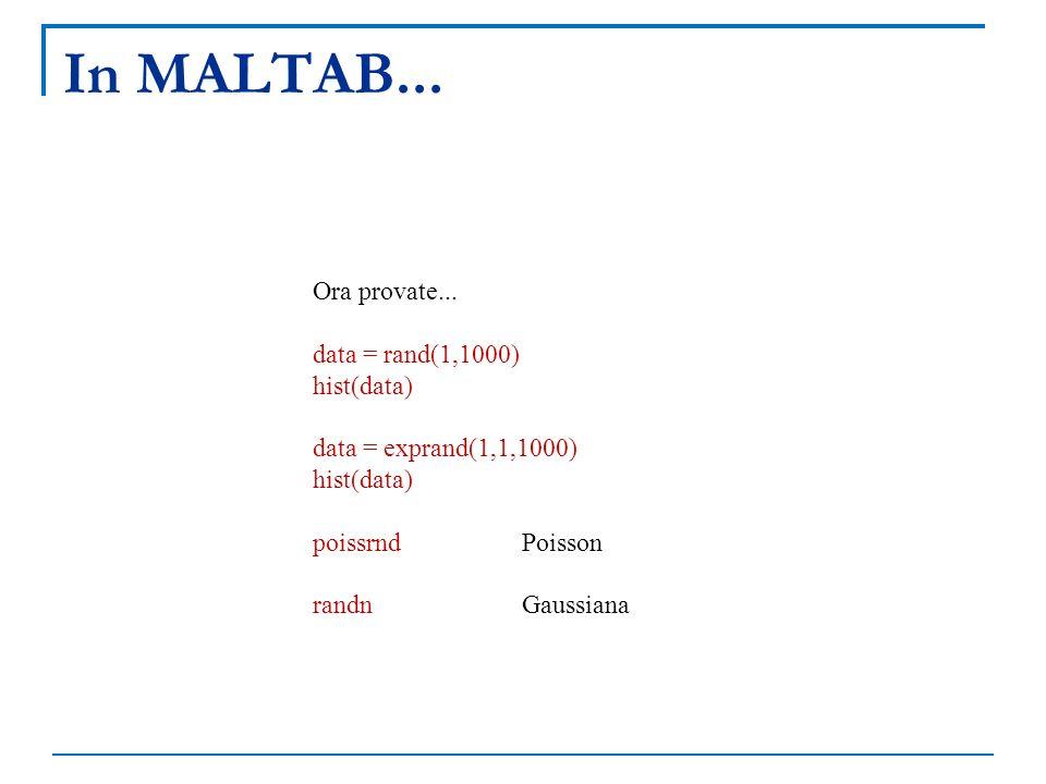In MALTAB... Ora provate... data = rand(1,1000) hist(data)