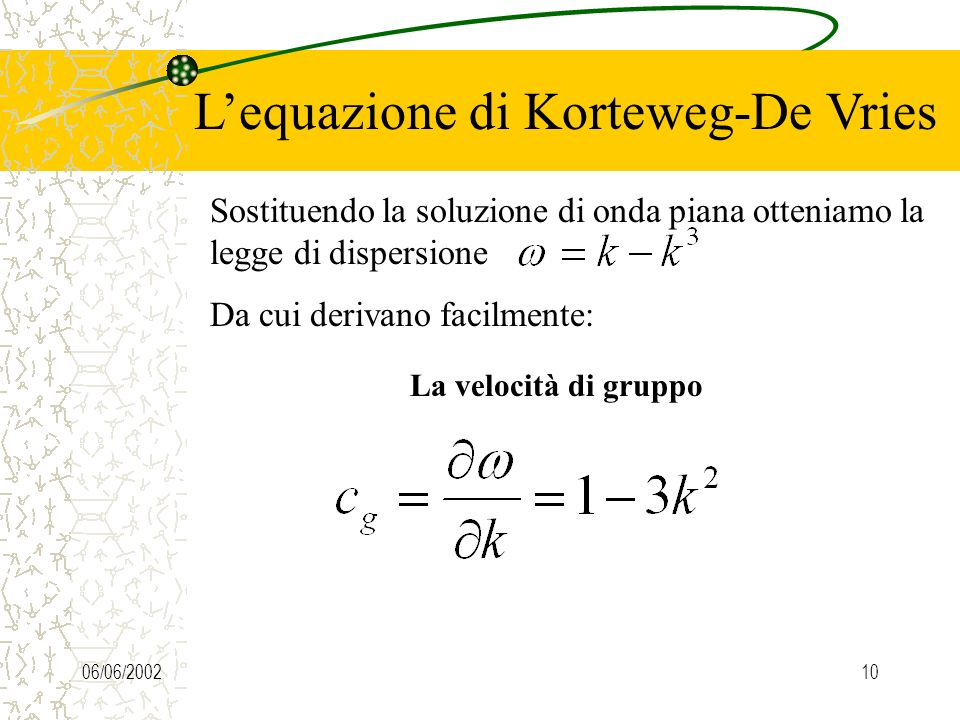 L'equazione di Korteweg-De Vries