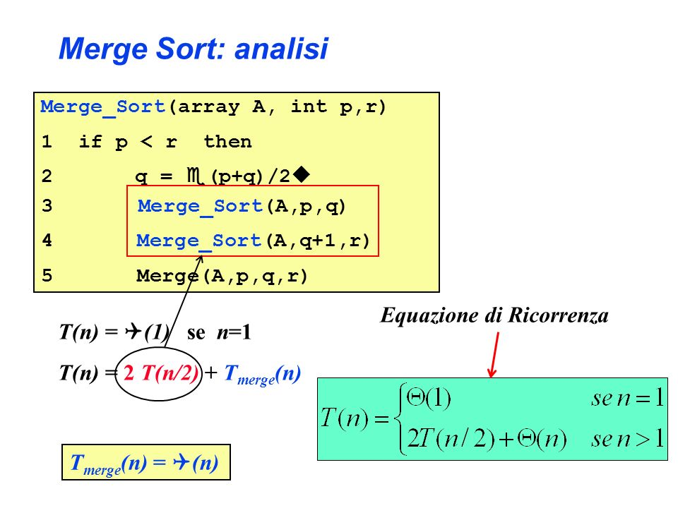 Merge Sort: analisi Equazione di Ricorrenza T(n) = (1) se n=1
