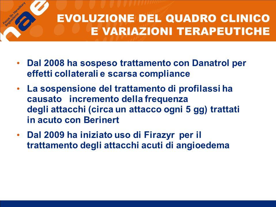 EVOLUZIONE DEL QUADRO CLINICO E VARIAZIONI TERAPEUTICHE