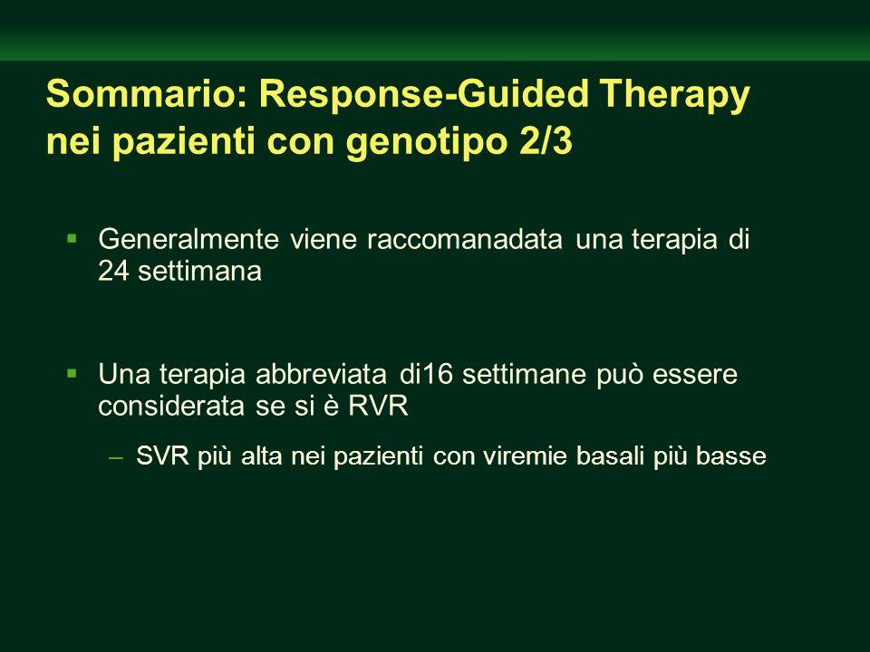 Sommario: Response-Guided Therapy nei pazienti con genotipo 2/3