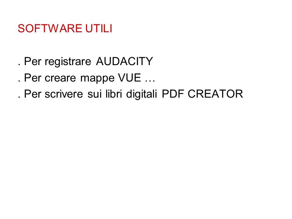 SOFTWARE UTILI . Per registrare AUDACITY. . Per creare mappe VUE … .