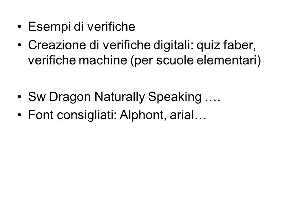 Esempi di verifiche Creazione di verifiche digitali: quiz faber, verifiche machine (per scuole elementari)