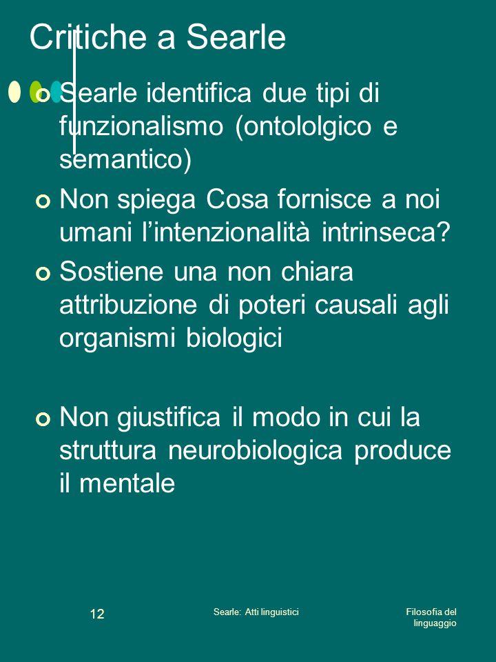 Searle: Atti linguistici