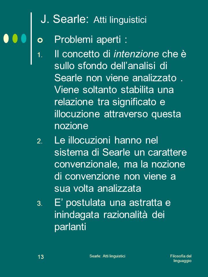 J. Searle: Atti linguistici