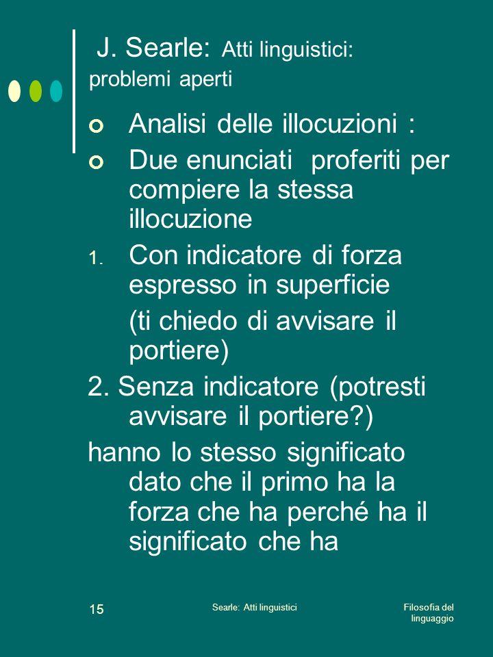 J. Searle: Atti linguistici: problemi aperti