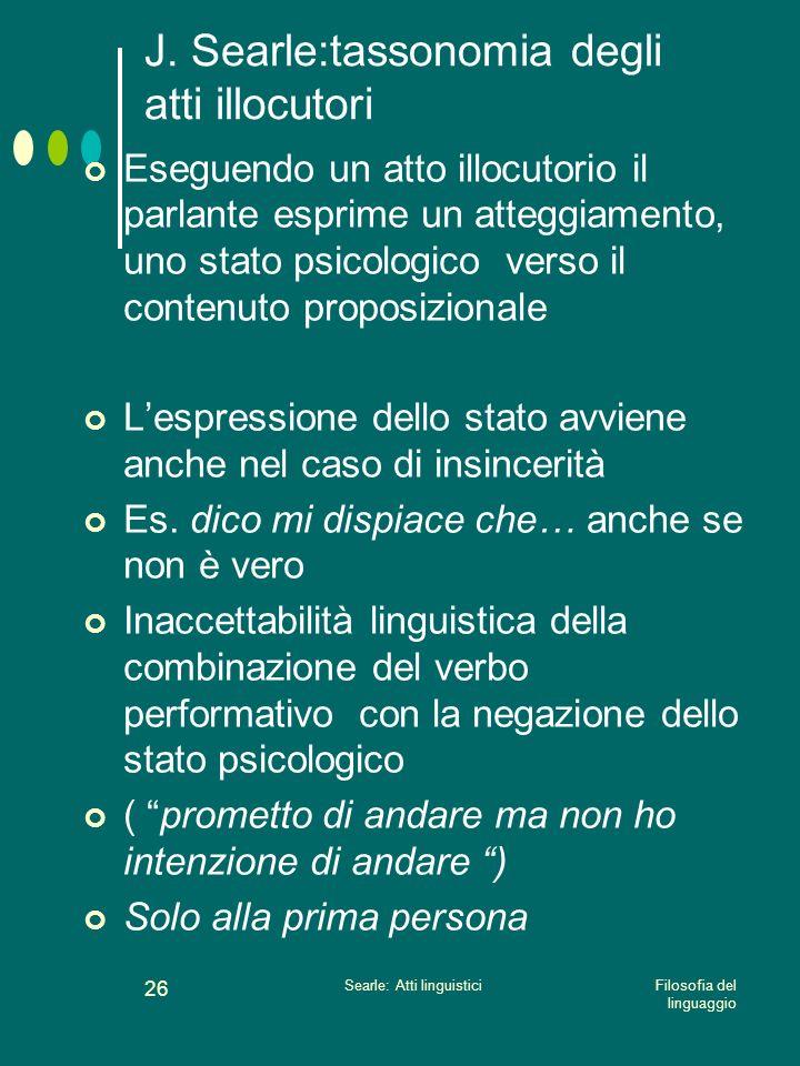 J. Searle:tassonomia degli atti illocutori