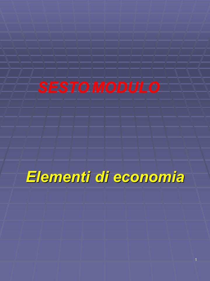 SESTO MODULO Elementi di economia