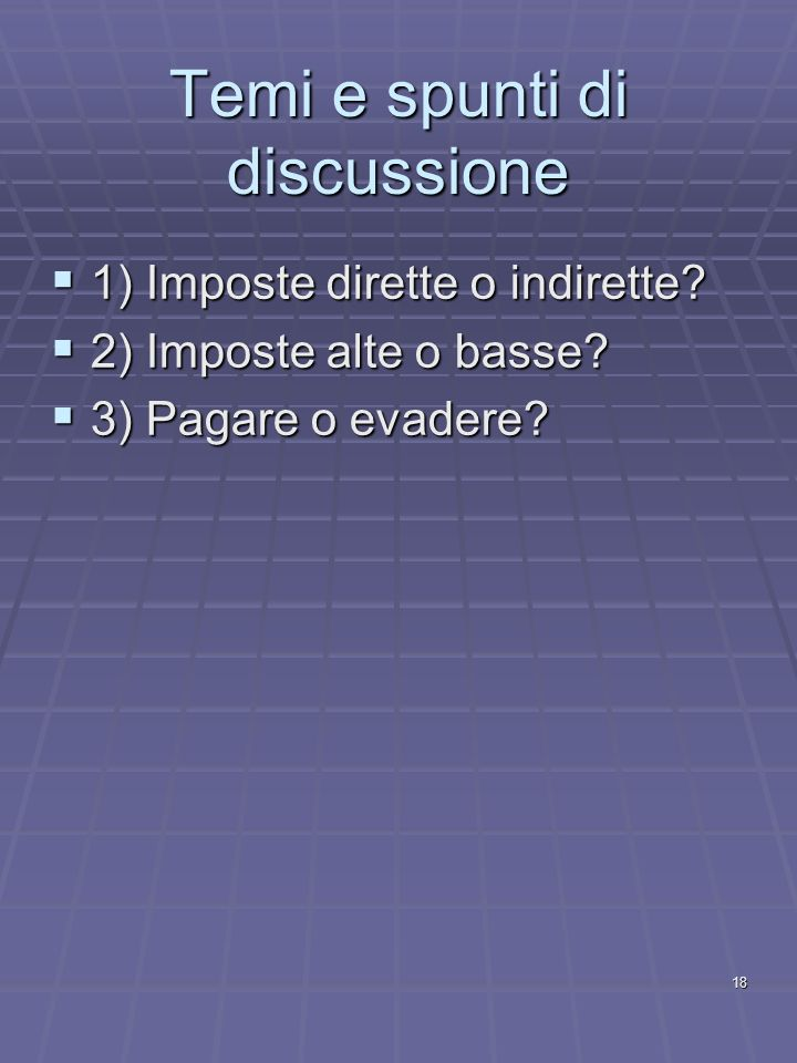 Temi e spunti di discussione