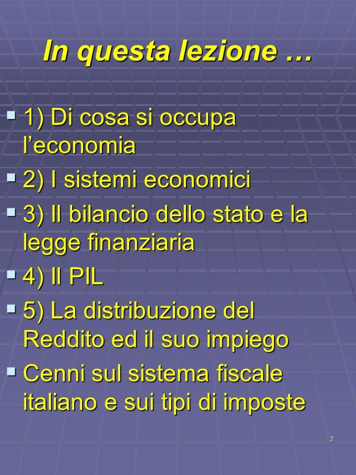 In questa lezione … 1) Di cosa si occupa l'economia