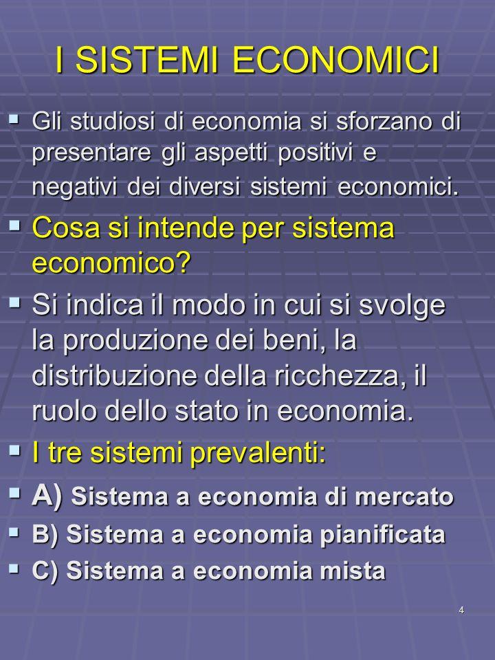 I SISTEMI ECONOMICI Cosa si intende per sistema economico
