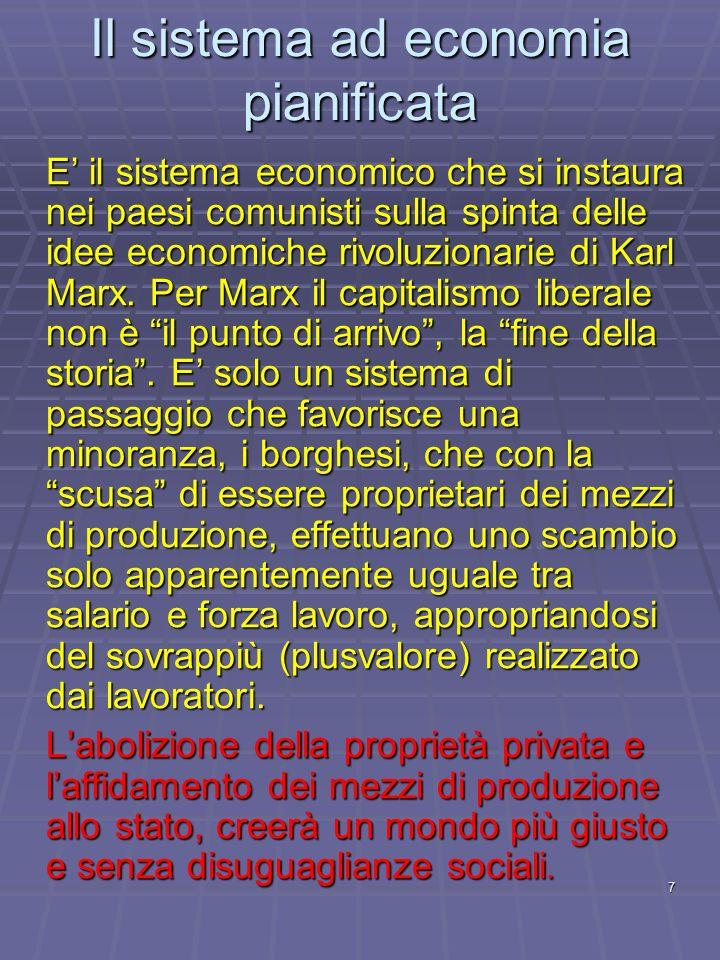 Il sistema ad economia pianificata