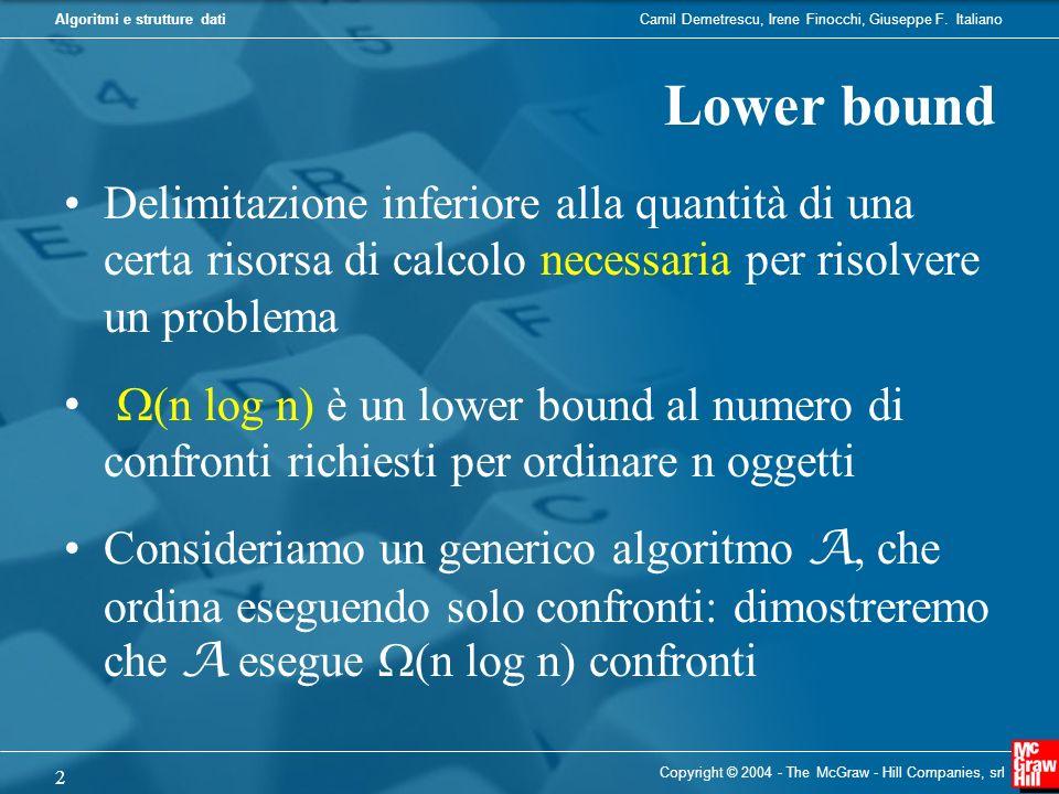 Lower bound Delimitazione inferiore alla quantità di una certa risorsa di calcolo necessaria per risolvere un problema.