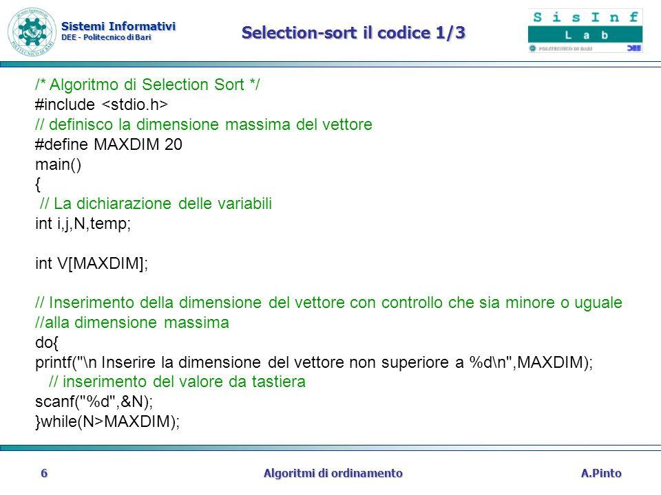 Selection-sort il codice 1/3