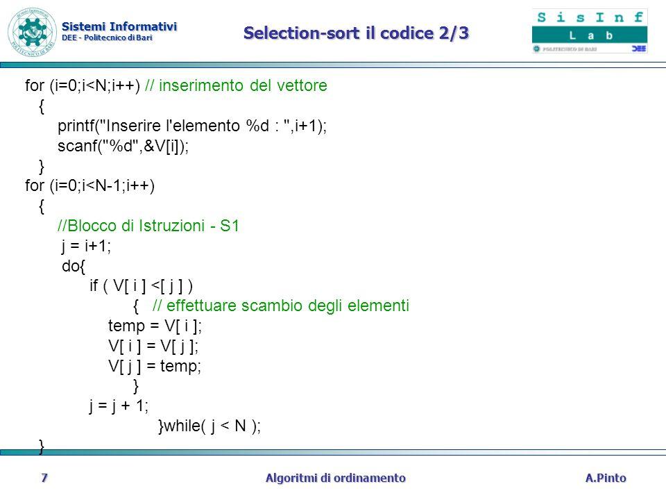 Selection-sort il codice 2/3