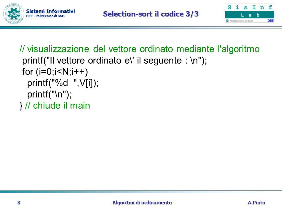 Selection-sort il codice 3/3