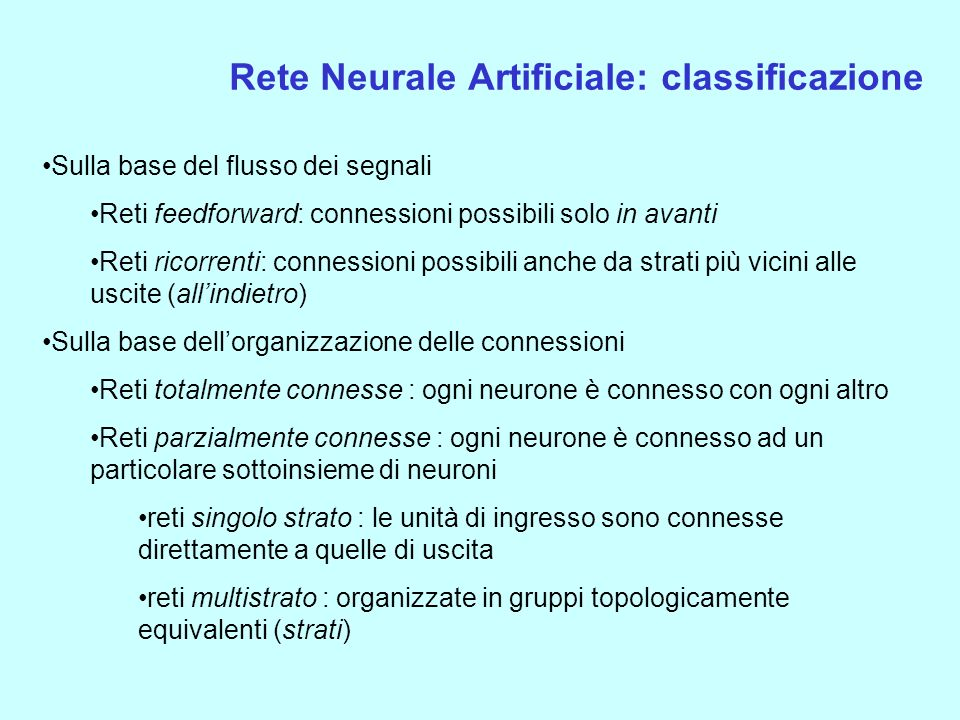 Rete Neurale Artificiale: classificazione