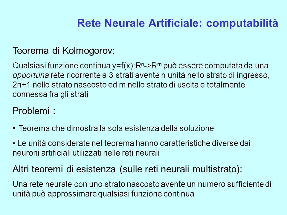 Rete Neurale Artificiale: computabilità