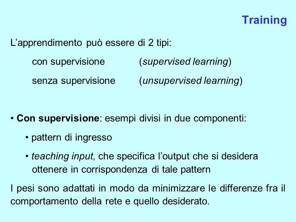 Training L'apprendimento può essere di 2 tipi: