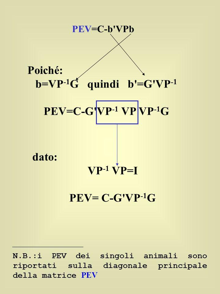Poiché: b=VP-1G quindi b =G VP-1 PEV=C-G VP-1 VP VP-1G dato: VP-1 VP=I