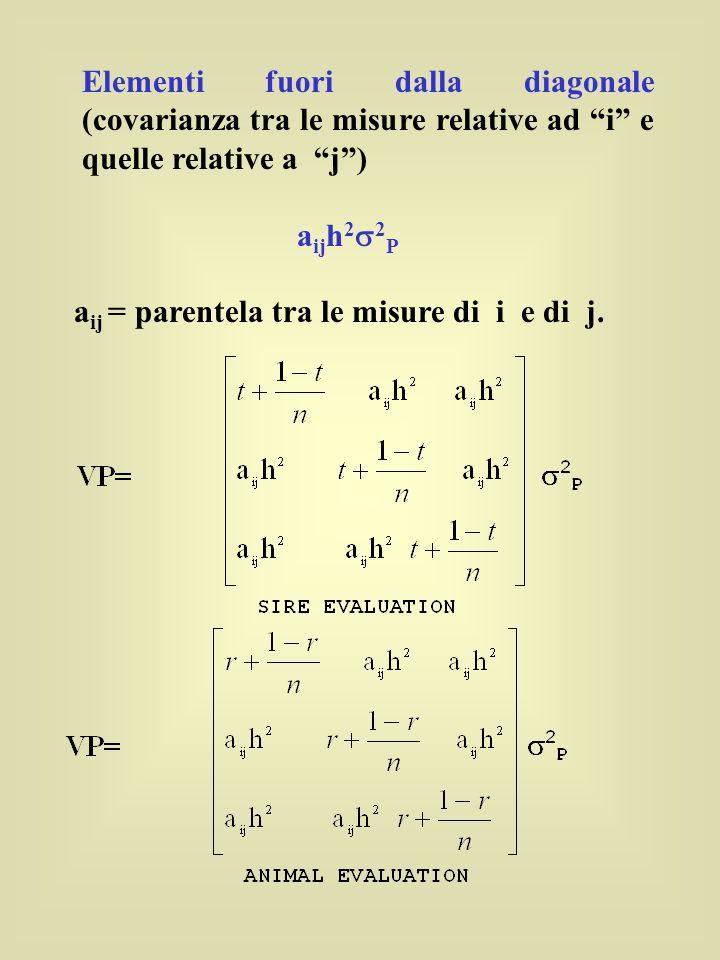Elementi fuori dalla diagonale (covarianza tra le misure relative ad i e quelle relative a j )