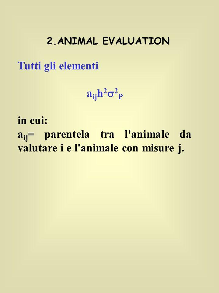 aij= parentela tra l animale da valutare i e l animale con misure j.