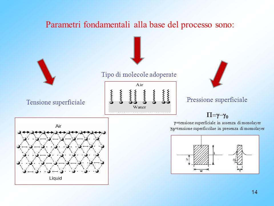 Parametri fondamentali alla base del processo sono: