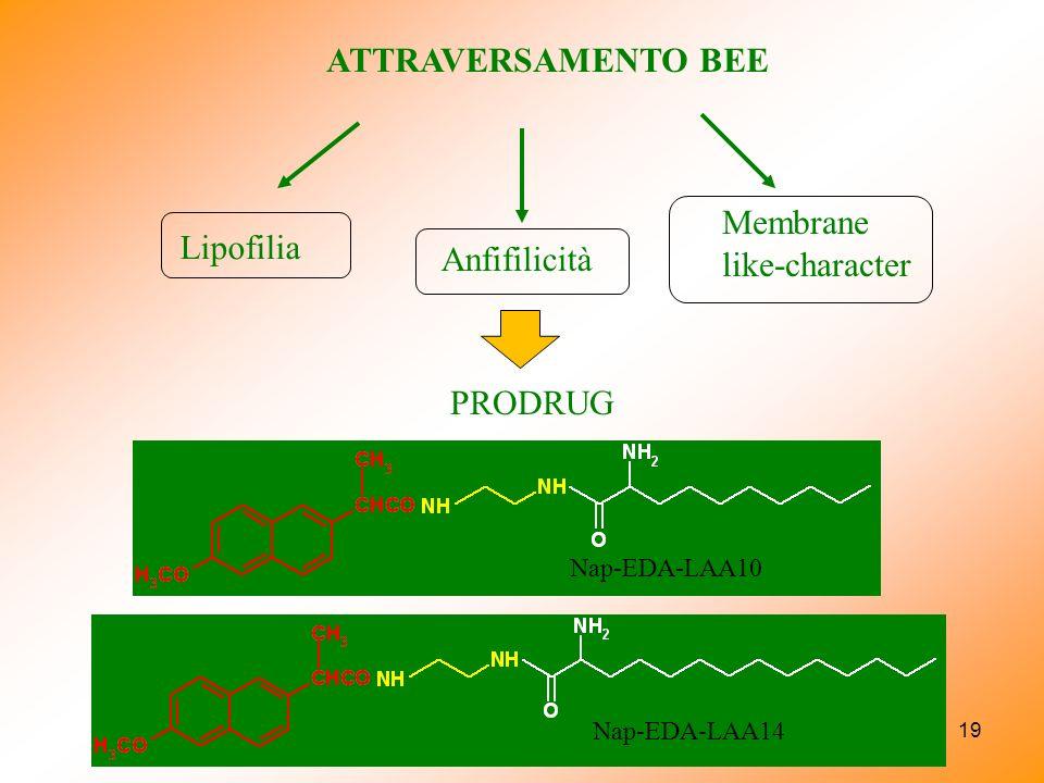 Membrane like-character Lipofilia Anfifilicità