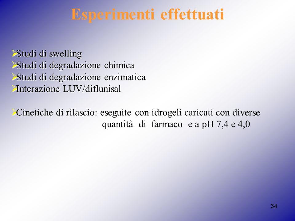 Esperimenti effettuati