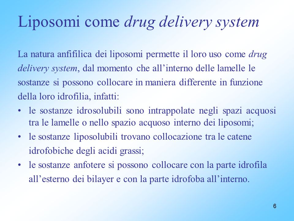 Liposomi come drug delivery system