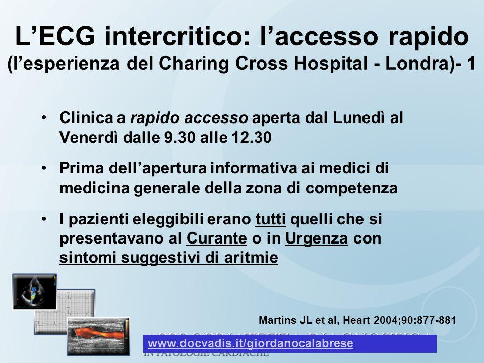 L'ECG intercritico: l'accesso rapido (l'esperienza del Charing Cross Hospital - Londra)- 1